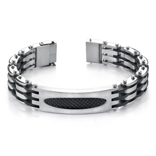 Trendy New Design Mens ID Style Stainless Steel Bracelet with Magnetic Clasp