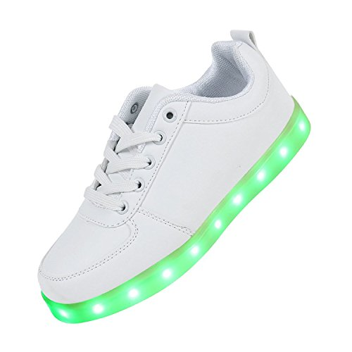 Joney(TM) Unisex Adulto 7 Colore USB Carica LED Lampeggiante Luminosi Sneakers Scarpe Sportivet Bianco Low Cut