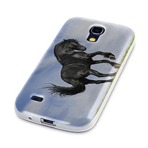 Schwarzes Pferd, Das Kristallklare Ultradünn Gel Crystal Silikon Handyhülle Schutzhülle Handyschale mit Farbig Design für Samsung Galaxy S4 Mini