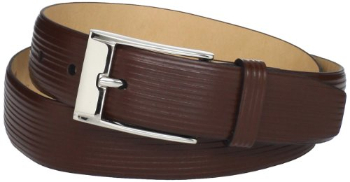 Trafalgar Men's Parallel Emboss Print Belt, Brown, 40