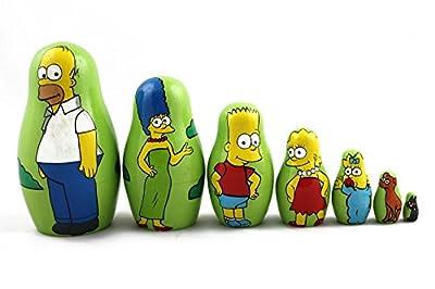 Matryoshka Russian Nesting Doll Babushka Beautiful Family Simpsons Homer Characters Set 7 Pieces Pcs Wooden Hand Painted Souvenir Gift Craft