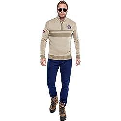 NEBULUS Pullover in maglia LANDER, Uomo, Crema/Beige (Q251), Beige (Creme - Beige), L