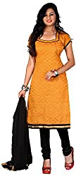 AAINA Women's Cotton Silk Unstitched Dress Material (Yellow)