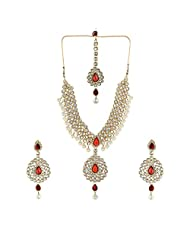 Shining Diva Splendid Antique Necklace Set With Maang Tika