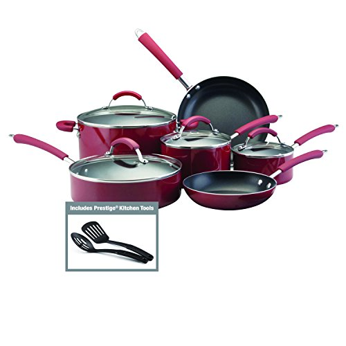 Farberware Millennium Colors Nonstick Aluminum 12-Piece Cookware Set, Red (12 Piece Nonstick Cookware compare prices)