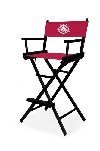 Telescope Casual Heritage Bar Height Director Chair, Black Finish with Marine Red and White Motif Cover