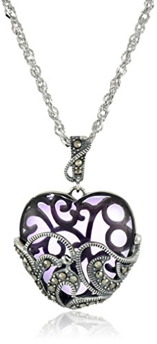 """Sterling Silver Marcasite and Purple Glass Heart Pendant Necklace, 18"""""""