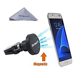 Car Mount, Wisdompro® Rotating Magnetic Universal Air Vent Cell Phone Mount Holder for Apple iPhone 5/6/6 Plus, Samsung Galaxy S7/S6/S5/S4, Note 5/4/3, Android and other Smartphones, GPS - Black