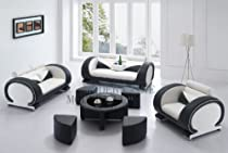 Big Sale Modern White and Black Set: Sofa, Loveseat and Chair Set with a Matching Coffee Table!