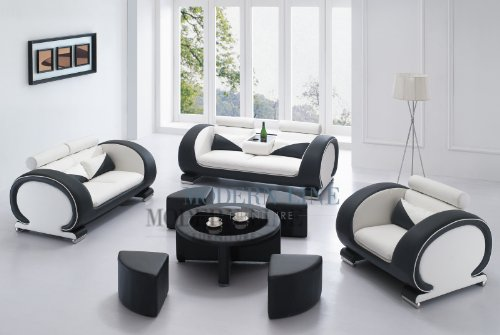 Modern White and Black Set: Sofa, Loveseat and Chair Set with a ...
