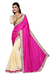 Heart and Arrow women's brasso net embroidered sari saree [1101_pink]