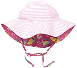 i play. Toddler Girls Reversible Brim Sun Protection Hat, Hot Pink Cabana, 2T-4T