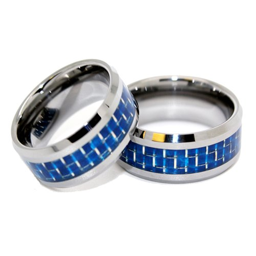 Blue Chip Unlimited - Matching 8mm Tungsten Blue Carbon Fiber Rings His & Hers Ring Set Wedding Bands Engagement Rings (Available in Whole & Half Sizes 4-17)
