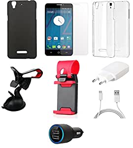 NIROSHA Tempered Glass Screen Guard Cover Case Charger Mobile Holder Combo for YU Yureka Combo