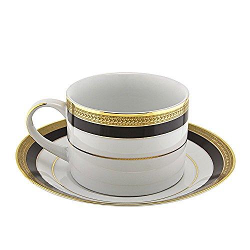 10 Strawberry Street SAH-9BK6 Sahara Can Cup/Saucer, Set of 6, White/Black/Gold