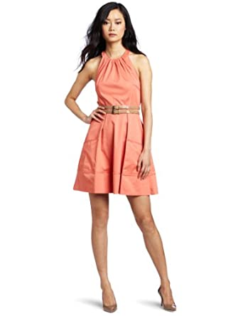 Jessica Simpson Women's Halter Belt Dress, Tawny Orange, 4