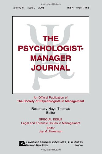 Legal And Forensic Isssues In Management Tpmj V8#2 (The Psychologist-Manager Journal)