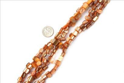 8mm--9mm gemstone orange shell beads strand 15