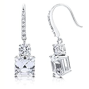 BERRICLE Sterling Silver Cubic Zirconia CZ Wedding Bridal Fashion Fish Hook Earrings