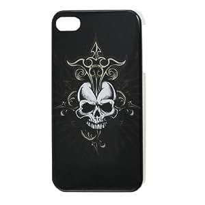 IMD Skull Pattern Plastic Back Case Cover Black for iPhone 4 4G 4GS 4S