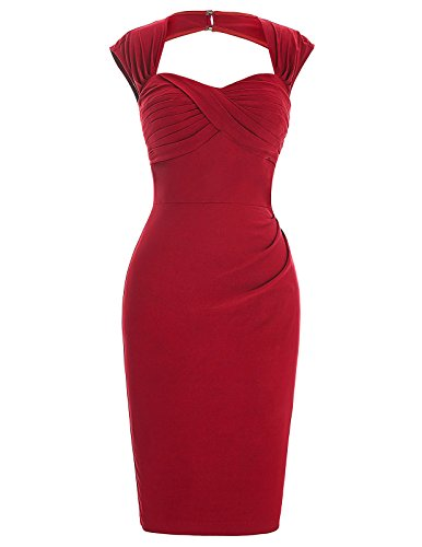 Women's Ruched Bodice Open Back Sexy Pencil Retro Dresses for Wedding Red 2