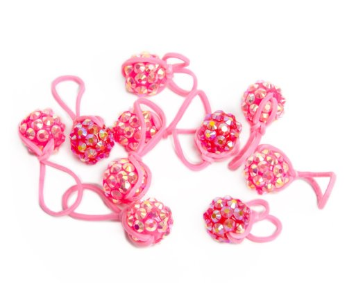 U-B Glitter Charms, Compatible with all Rubber Band Bracelets-Cotton Candy Pink (10 Charms) with Charm Carrying Case - 1