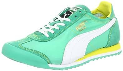 PUMA Women's Roma Slim Nylon Shoe,Mint Leaf/White/Aurora,6 B US