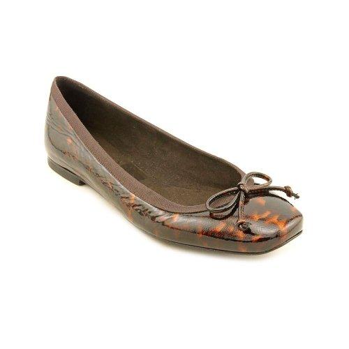 Stuart Weitzman Nu Shoe String Womens Size 6 Brown Patent Leather Flats Shoes