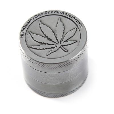 ShungHO-Metal-Silver-Tobacco-grinder-4-Part-with-Pollen-Catcher-Grinder-Herb-Weed-Engraved-Big-Leaf