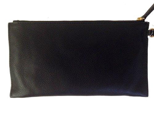 MICHAEL Michael KorsMichael Kors Fulton Large Black Leather Top Zip Clutch / Wristlet