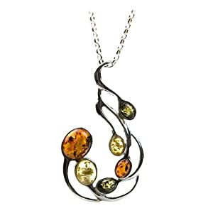 Sterling Silver Multi-Color Amber Large Pendant Necklace, 18