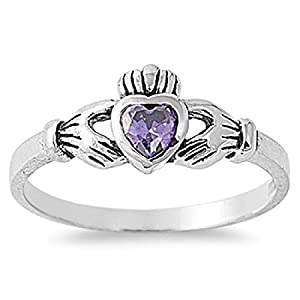 Sterling Silver Cubic Zirconia Ring - Claddagh Ring - Size D