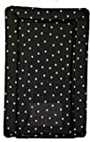 SUPER SOFT PADDED WATERPROOF BABY CHANGING MAT BLACK WITH WHITE SPOT