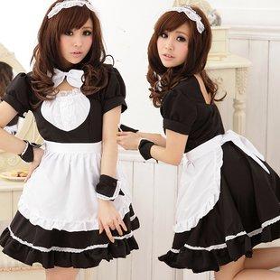 [百足ーHYAKUTARUー]メイド服 Lサイズ 大きめ ブラック カチューシャ カフス エプロン ニーハイソックス付き