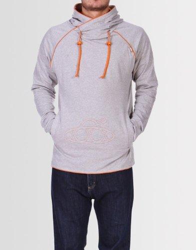 Kear and Ku Mens Tank Hoodie Grey : Grey Marl- Orange - L