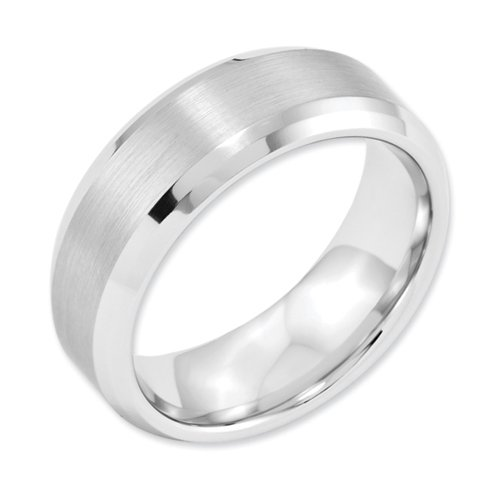 White Dura Tungsten Beveled Edge 8mm Brushed And Polished Band, Size 8