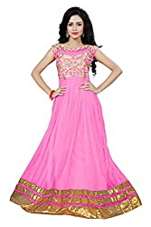Yeoja Creation Pink Embrodred Semi-stiched Gown With Fancy Duptta