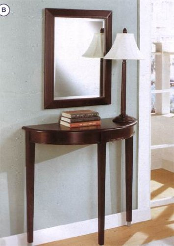 3 pc pack cherry finish wood hall console table , mirror and lamp by Coaster Furniture