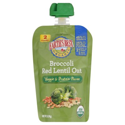 Earth'S Best Baby Foods Broccoli, Red Lentil, Oat 3.5 Oz (Pack Of 12) front-1019183