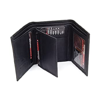 Men's Deluxe Trifold Leather WalletBy Alpine SwissColor: BlackMSRP: $45.00Product Features:Measures: 4 1/8