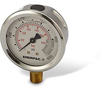 "Enerpac G2535L  Hydraulic Pressure Gauge with Dual 0 to 10,000 PSI and 0 to 700 Bar Range, 2-1/2""-Dia. Face, 1/4"" NPTF Male, Lower-Mount Connection"