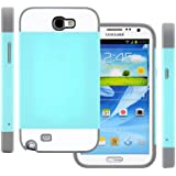 Galaxy Note 2 Case (Turquoise Teal / Gray), CellJoy® [Vivid Hybrid] **Dual Layer** TPU Case Phone Cover Skin **Card Storage** For Samsung Galaxy Note II N7100 N7105