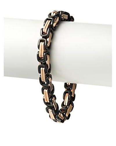 Blackjack Polished Black/18K Rose Gold Plated Stainless Steel Byzantine Link Bracelet