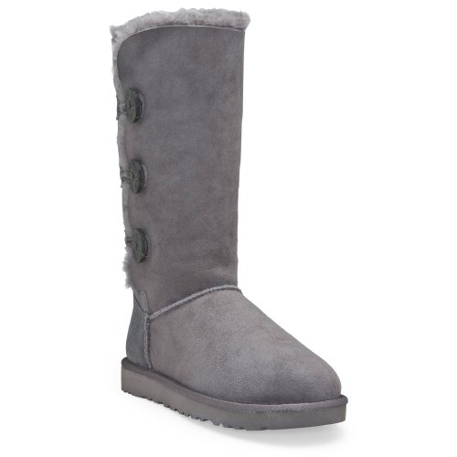 Ugg Women's Bailey Trip Grey Fur Trimmed Boot 1873 10 UK