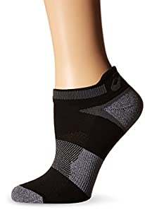 ASICS Unisex Quick Lyte Cushion Single Tab Socks (3 Pairs), Black/Grey Heather, Large