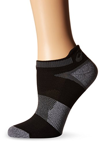 ASICS Unisex Quick Lyte Cushion Single Tab Socks (3 Pairs), Black/Grey Heather, Medium