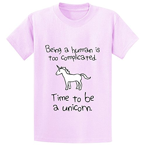 Unicorn Time To Be A Unicorn Girls Cotton Crew Neck T Shirts Pink