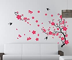 PeelCo Red Flower Tree Branch Instant Wall Decal Sticker Living Room Bedroom Wall Art LARGE