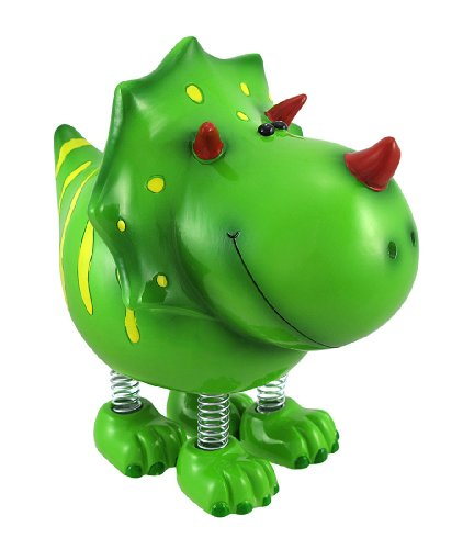 Smiling Green Triceratops Dinosaur with Spring Legs Children`s Coin Bank - 1