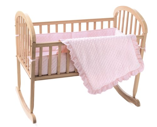 American Baby Company Heavenly Soft Minky Dot 3-Piece Cradle Set, Pink